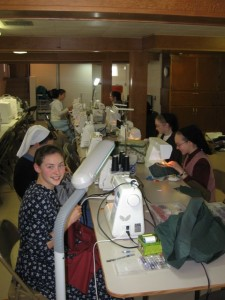 The sewing tables