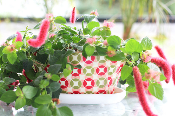 Flower pot with Vintage Modern fabric 55031 15